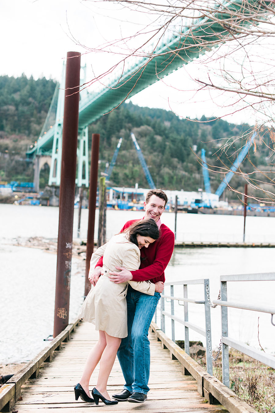 St. Johns Bridge Engagement Photo Deyla Huss Photography