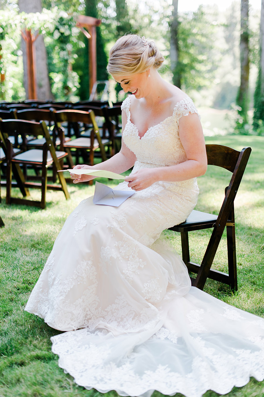 Bride reading a letter from groom Wedding Photography Portland